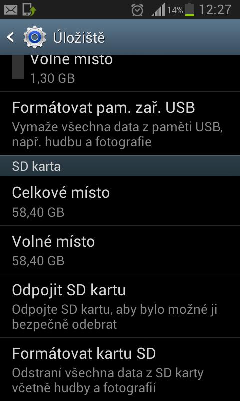 64GB karta naformátovaná FAT32